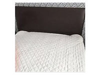 Brown faux leather king size bed frame and mattress
