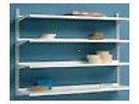 Nearly New Heavy Duty 4 Metal Shelves and all Accessories mounted Brackets solid metal very robust
