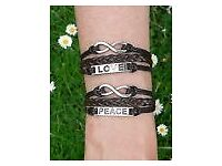 Woven Leather Black Strands Peace Infinity Birds Charms