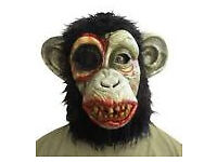 Halloween Latex Zombie Chimp Chimpanzee Monkey Simian Ape Mask