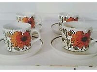 Meakin Poppy Cups and Saucers - x 25