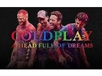 COLDPLAY STANDING /UNRESERVED SEATED TICKETS X2