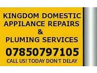 KINGDOM DOMESTIC APPLIANCE REPAIRS = WASHING MACHINE ,TUMBLE DRYER , COOKER , OVEN REPAIRED