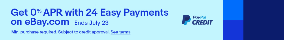 Get 0% APR with 24 Easy Payments on eBay.com | Ends July 23 | PayPal Credit | Min. purchase required. See terms