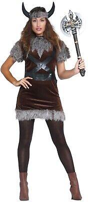 Womens Adults Viking Barbarian Warrior Nordic Fancy Dress Costume - Viking Womens Kostüm