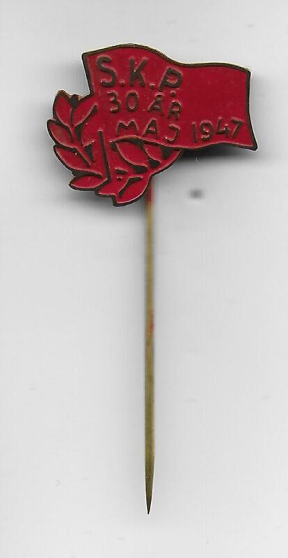 Swedish Communist Party SKP May 1947 jubilee 30 years original pin Socialism