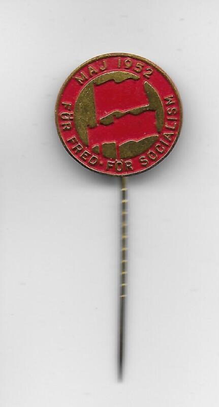 Swedish Communist Party VPK May 1952 Peace original metal pin Socialism