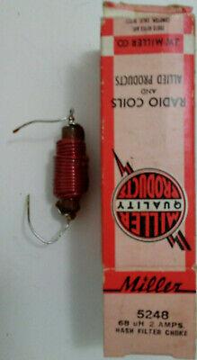 68 Uh 2a Miller 5248 Vintage Inductor Hash Filter Choke 68 Milliihenry 2 Amp