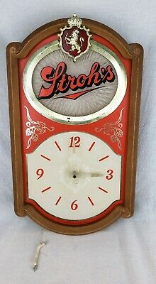 Vintage STROH'S Beer Electric Wall Clock 1986 Breweriana Turning Strobe Light