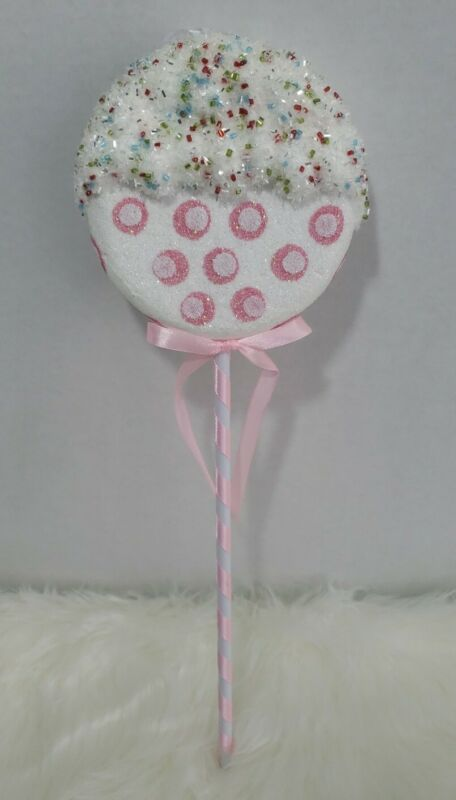 Pink White Candy Lollipop Christmas Tree Ornament Glitter Beads Birthday Prop