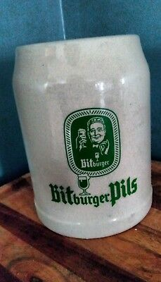 VINTAGE GERMAN BITBURGER PILS STONEWARE BEER STEIN MUG 0.5L
