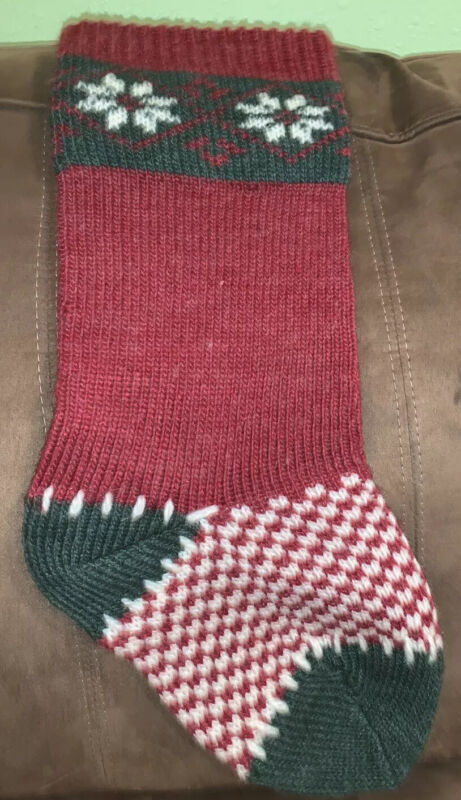 Red Green Poinsettia Stitched Wool Knit Christmas Stocking