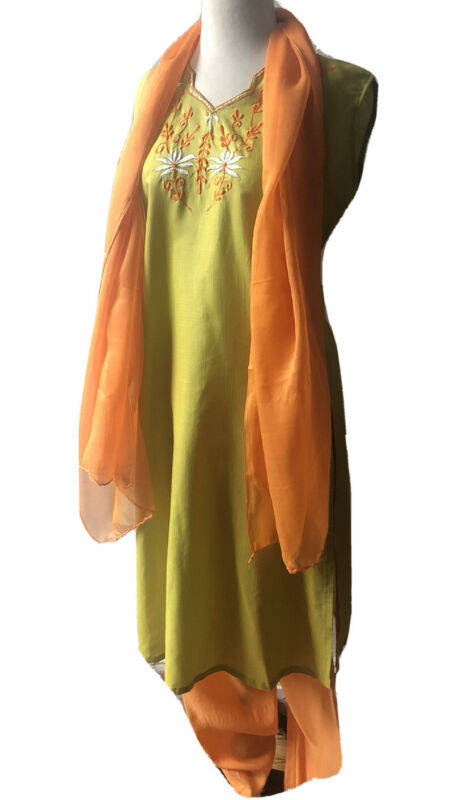 ORANGE LIME 3pc Pants Suit Women S Cotton Floral Embroidery Sleeveless Top Skirf