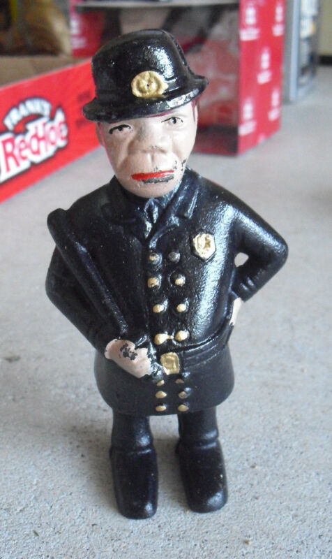 """Vintage 1960s Cast Iron Policeman Officer Man Character Penny Bank 5 5/8"""" Tall"""