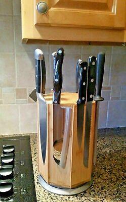 Rotating Bamboo Magnetic Knife Holder Block Rack, NEW IN GIFT BOX! Box Knife Holder