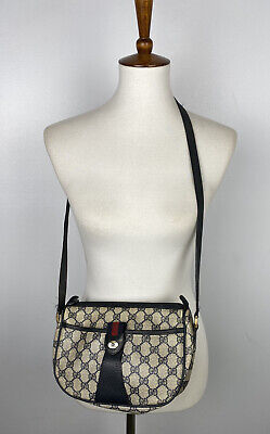 Vintage Gucci Shoulder Navy Blue Bag Logo Pvc Leather 89 02 032 Sherry Crossbody
