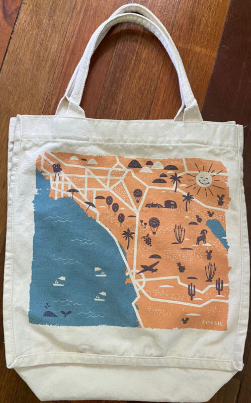 Fossil Canvas Tote Bag Reusable Grocery Bag California Coast Sturdy Carrying Bag