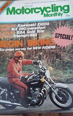 Motorcycling Monthly April 1977-Kawa Z1000, MZ 250 Test (67pages) segunda mano  Embacar hacia Argentina