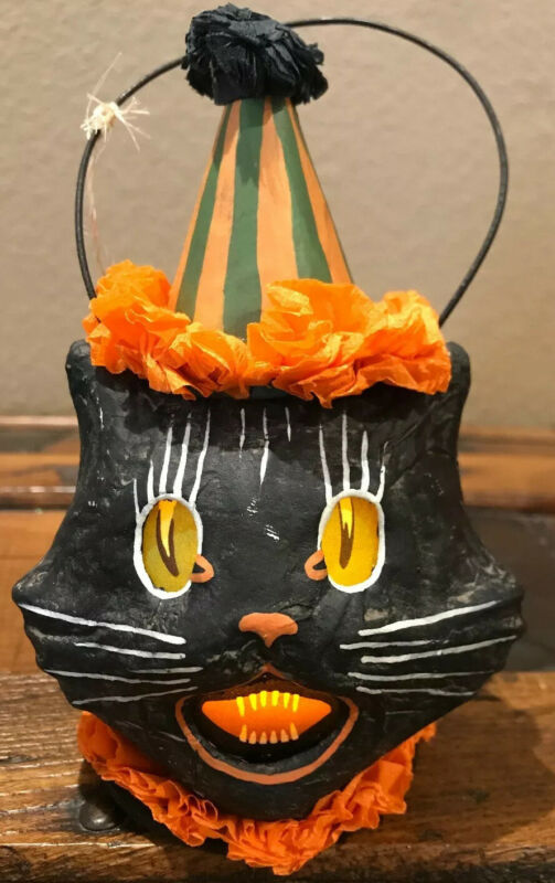 Bethany Lowe Halloween Sassy Cat Black Cat Mini Bucket Lantern-Votive Included