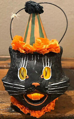 Bethany Lowe Halloween Sassy Cat Black Cat Mini Bucket Lantern-Votive Included