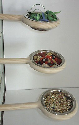 "Snack-N-Perch 8"" bird feeder perch,Parrot,Cockatiels,finch feeder bowl No Mess"