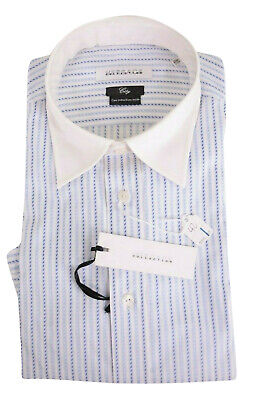 Versace NWT Dress Shirt Size 16.5 42 City In White & Blue Stripes W/ White Cuff