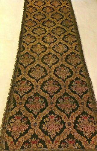 "Beautiful Antique French Lyon Silk Lined Table Runner - 52"" X 17"""