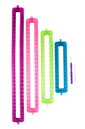 Long Rectangular Knitting Loom Set - 4 Different Looms W/ Hook And Needle  #1470