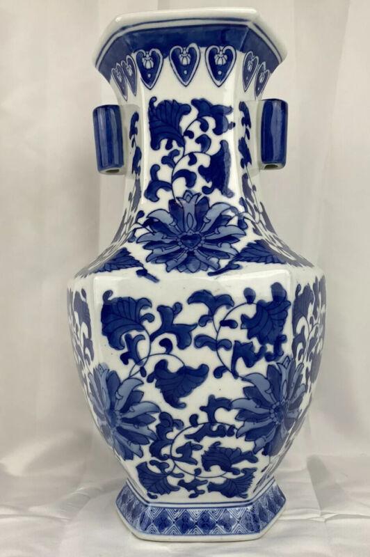 Chinese Blue & White 6 Sided Porcelain Vase Flower Patterns 14
