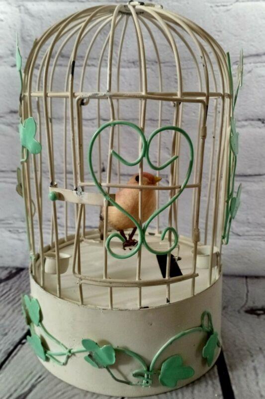 Vintage Windup Musical Swinging Bird In Birdcage, Shabby Chic, Wind beneath my..