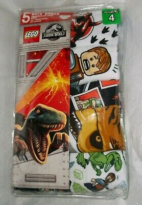 nip-Universal-JURASSIC WORLD-LEGO-5 Pair-Boys' Cotton Briefs-Size 4-Handcraft
