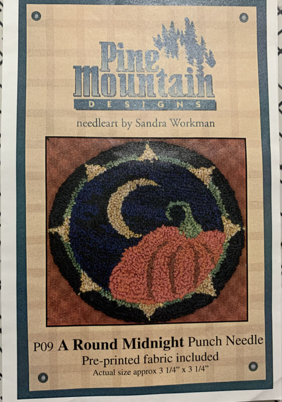 Punchneedle Embroidery Pattern A Round Midnight  Pine Mountain Printed Fabric