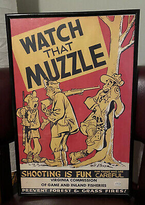 Original Will Eisner Hunting Poster Framed Watch That Muzzle Virginia Comm Game