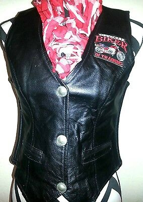 LEATHER WOMENS OFFICIAL BIKER VEST LADY RIDER HERSHELDON S XS
