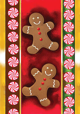 NEW TOLAND CHRISTMAS GARDEN FLAG GINGERBREAD MEN ...