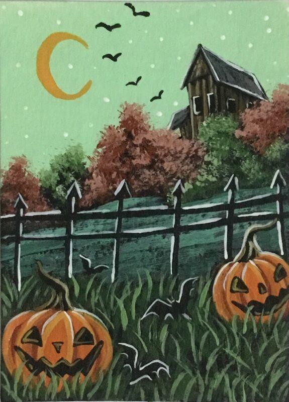 ACEO Original Halloween Mini Acrylic Sketch Card Abandoned house Jack-o
