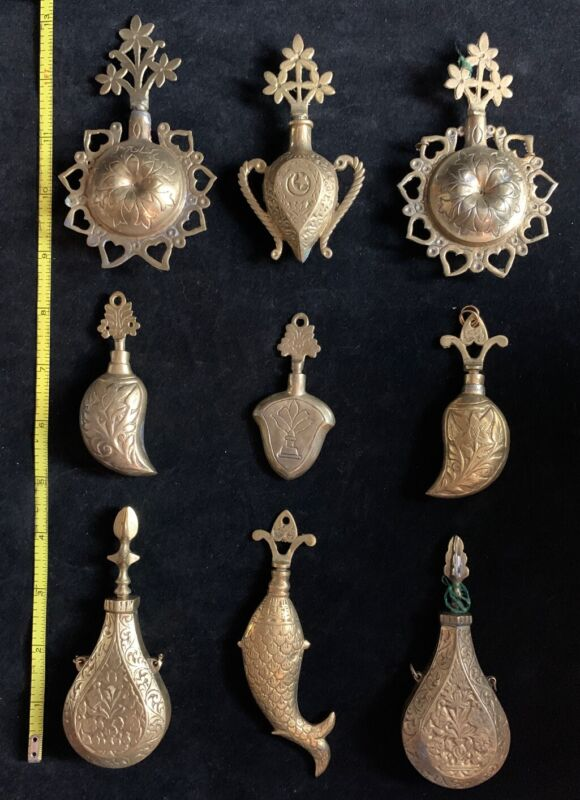 (9) Antique Indian Chased Brass Perfume Bottles