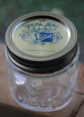 Vintage BALL PERFECT MASON RIBBED 1/3 THIRD~PINT Canning Jar w/ Gold Ball Lid - Gold Mason Jars