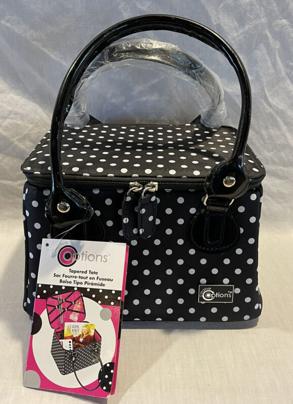NEW CREATIVE OPTIONS TAPERED CRAFT TOTE BLACK AND WHITE POLK A DOT