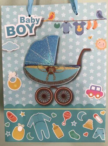 Baby Shower Boy Glitter Birthday Party SWEET GIFT BAG 3D Str