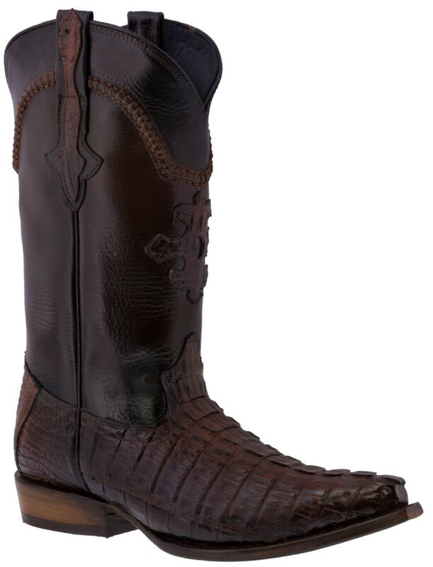 Mens, Rust, Cognac, Real, Crocodile, Tail, Exotic, Skin, Leather, Cowboy, Boots, Pointed