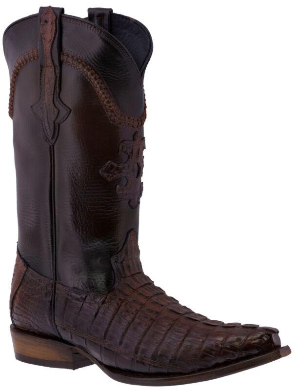 Mens, Rustic, Cognac, Genuine, Crocodile, Tail, Skin, Leather, Cowboy, Boots, Snip, Toe