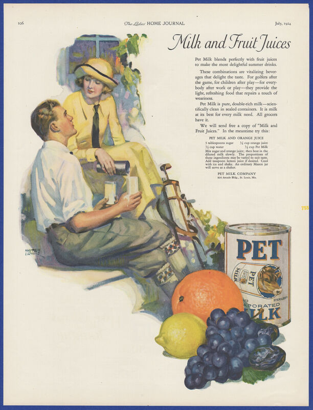 Vintage 1924 PET Milk Andrew Loomis Art Kitchen Decor 20