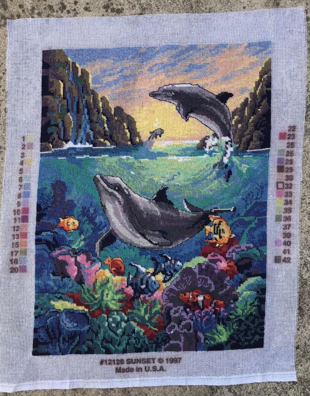 "SUNSET Needlepoint "" Delightful Dolphins"