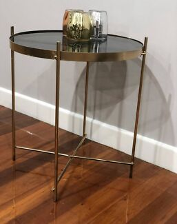 Hamptons style gold and glass top table