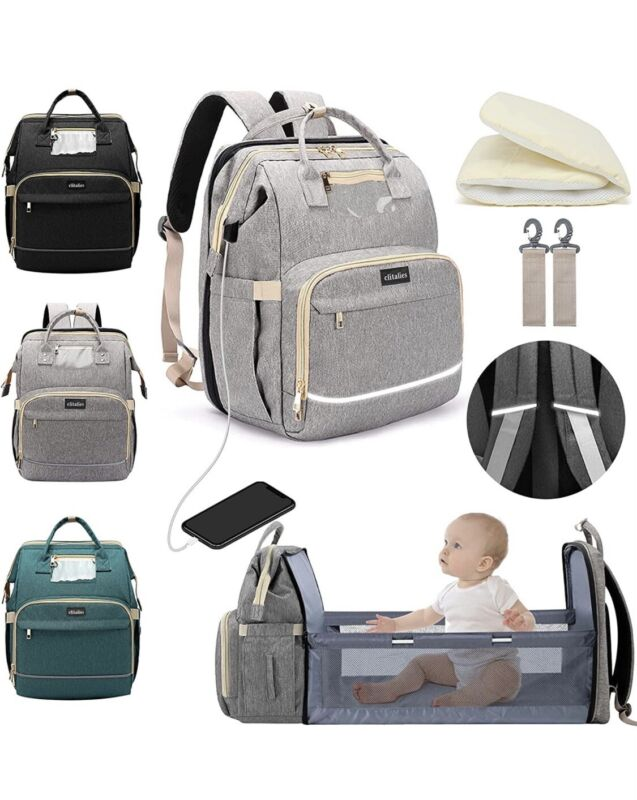 5-in-1 Travel Bassinet Foldable Baby Bed , Diaper Bag , Backpack with USB,Grey