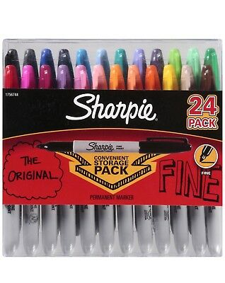 Sharpie Permanent Marker 24 Count Fine Assorted Colors Marks On Most Surfaces