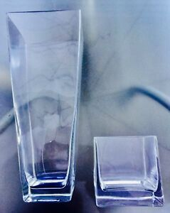 Two Solid Glass Vases, tapered 15 inches and cube 5 inches high