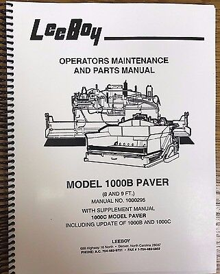 Oem Leeboy 1000b Paver Operation Maintanence Parts Manual Book