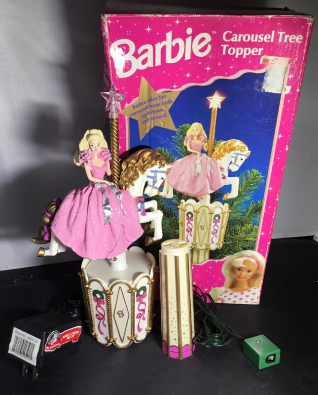 BARBIE Carousel Christmas Tree Topper 1997 Complete And In Working Condition